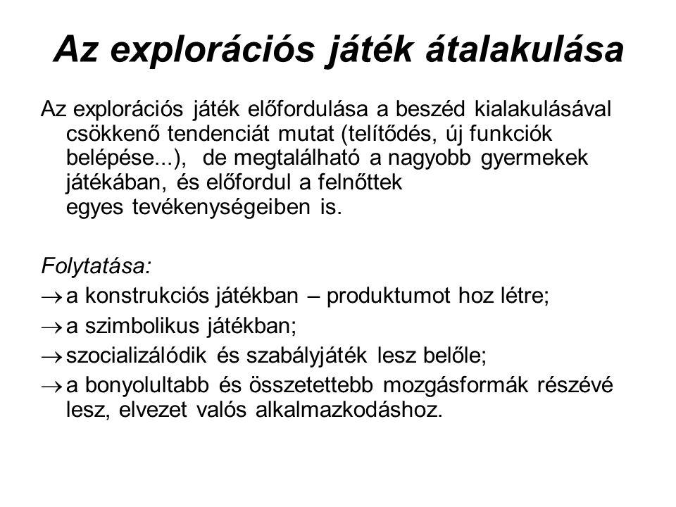 Az explorációs játék átalakulása Az explorációs játék előfordulása a beszéd kialakulásával csökkenő tendenciát mutat (telítődés, új funkciók belépése...), de megtalálható a nagyobb gyermekek játékában, és előfordul a felnőttek egyes tevékenységeiben is.