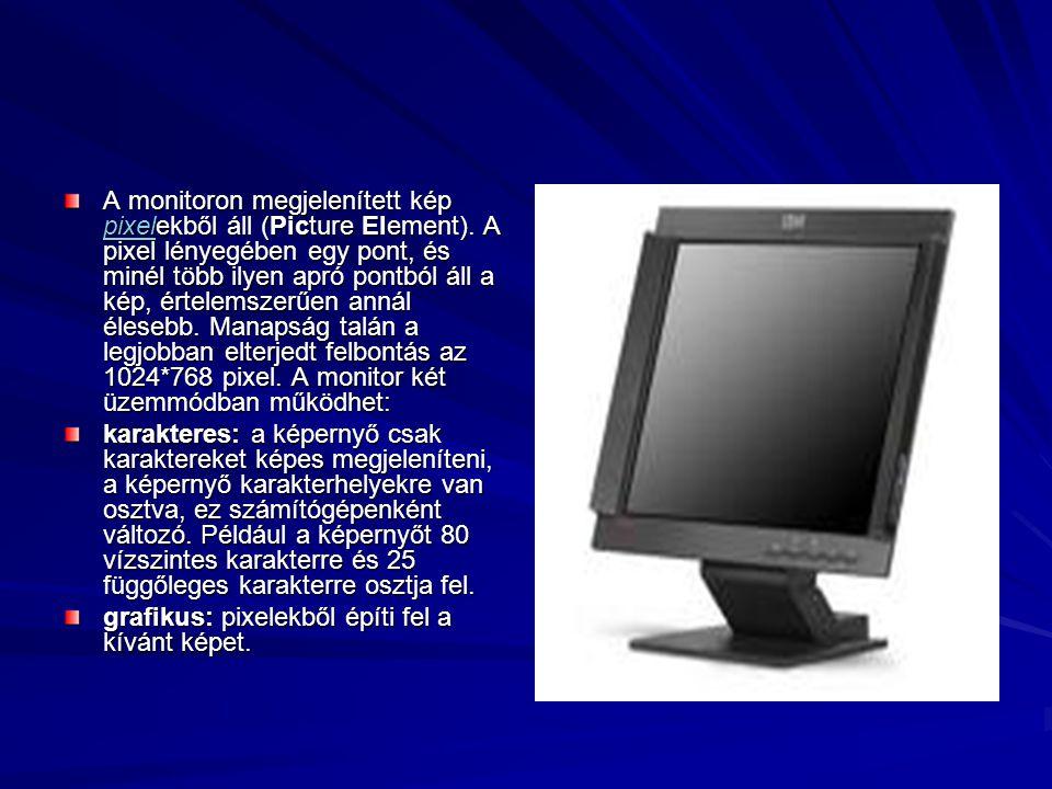 A monitoron megjelenített kép pixelekből áll (Picture Element). A pixel lényegében egy pont, és minél több ilyen apró pontból áll a kép, értelemszerűe
