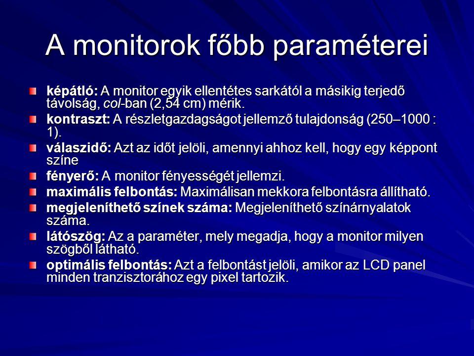 A monitorok főbb paraméterei képátló: A monitor egyik ellentétes sarkától a másikig terjedő távolság, col-ban (2,54 cm) mérik. kontraszt: A részletgaz