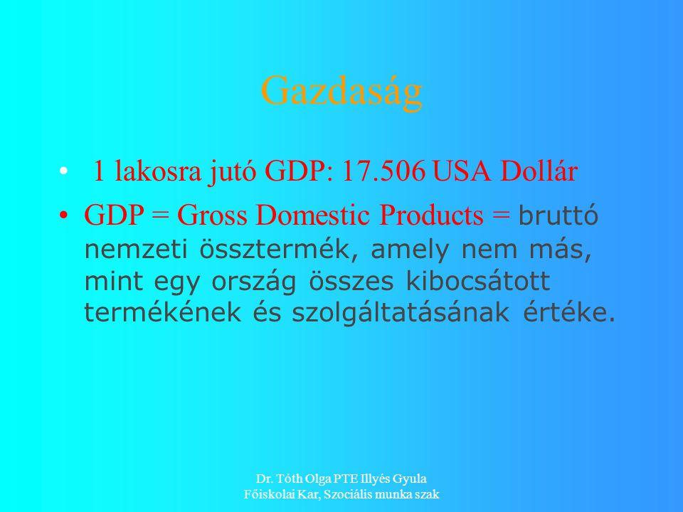 Gazdaság 1 lakosra jutó GDP: 17.506 USA Dollár GDP = Gross Domestic Products = bruttó nemzeti össztermék, amely nem más, mint egy ország összes kibocsátott termékének és szolgáltatásának értéke.