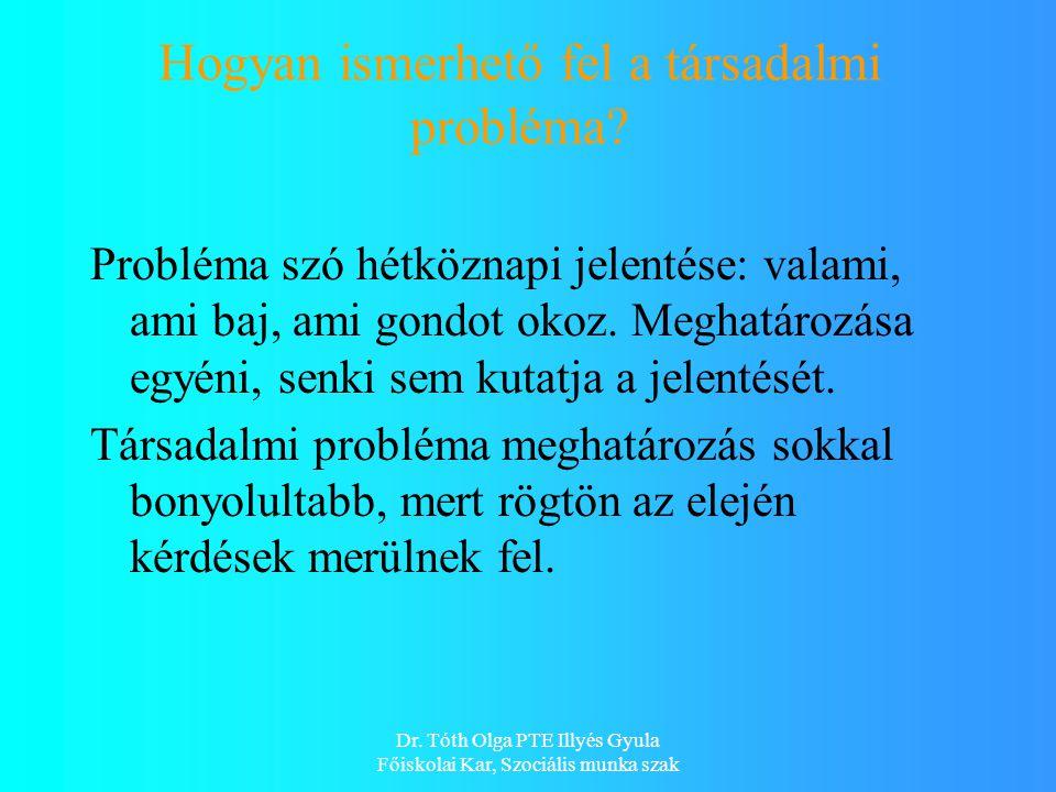 Dr. Tóth Olga PTE Illyés Gyula Főiskolai Kar, Szociális munka szak Hogyan ismerhető fel a társadalmi probléma? Probléma szó hétköznapi jelentése: vala