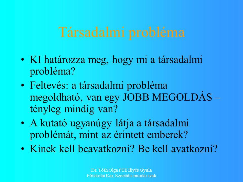 Dr. Tóth Olga PTE Illyés Gyula Főiskolai Kar, Szociális munka szak Társadalmi probléma KI határozza meg, hogy mi a társadalmi probléma? Feltevés: a tá