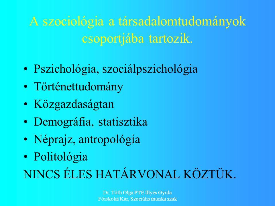 Dr. Tóth Olga PTE Illyés Gyula Főiskolai Kar, Szociális munka szak A szociológia a társadalomtudományok csoportjába tartozik. Pszichológia, szociálpsz