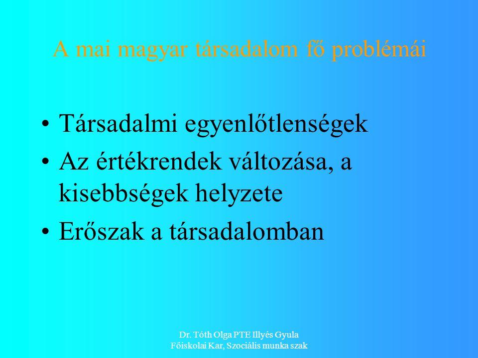 Dr. Tóth Olga PTE Illyés Gyula Főiskolai Kar, Szociális munka szak A mai magyar társadalom fő problémái Társadalmi egyenlőtlenségek Az értékrendek vál