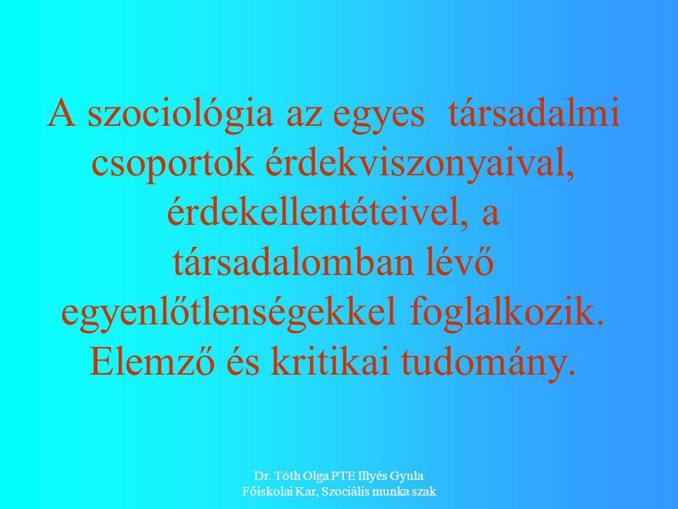 Dr. Tóth Olga PTE Illyés Gyula Főiskolai Kar, Szociális munka szak A szociológia az egyes társadalmi csoportok érdekviszonyaival, érdekellentéteivel,