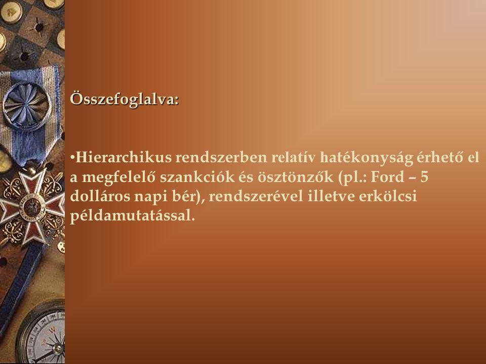Összefoglalva: H ierarchikus rendszerben relatív h atékonyság érhető el a megfelelő szankciók és ösztönzők (pl.: Ford – 5 dolláros napi bér), rendszer