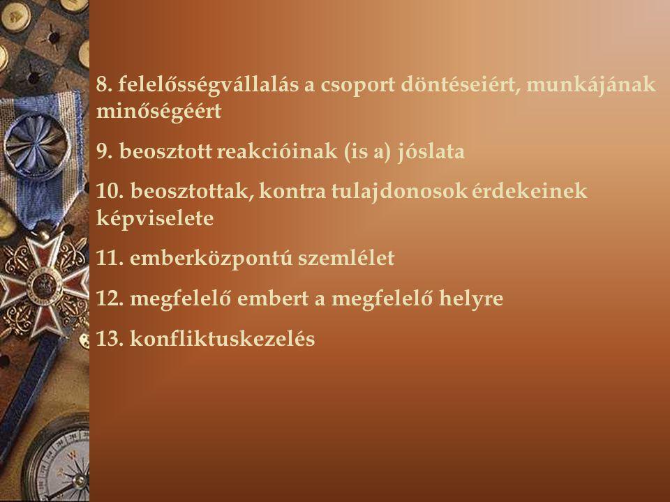 8. felelősségvállalás a csoport döntéseiért, munkájának minőségéért 9. beosztott reakcióinak (is a ) jóslata 10. beosztottak, kontra tulajdonosok érde