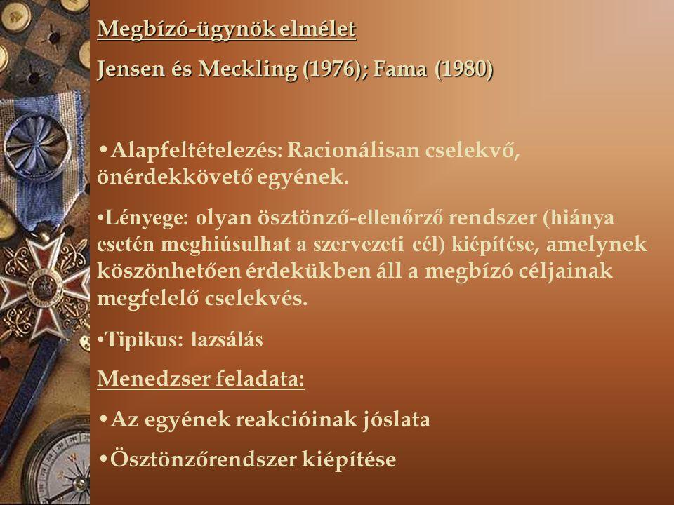 Megbízó-ügynök elmélet Jensen és Meckling (1976); Fama (1980) Alapfeltételezés: Racionálisan cselekvő, önérdekkövető egyének. Lényege : o lyan ösztönz