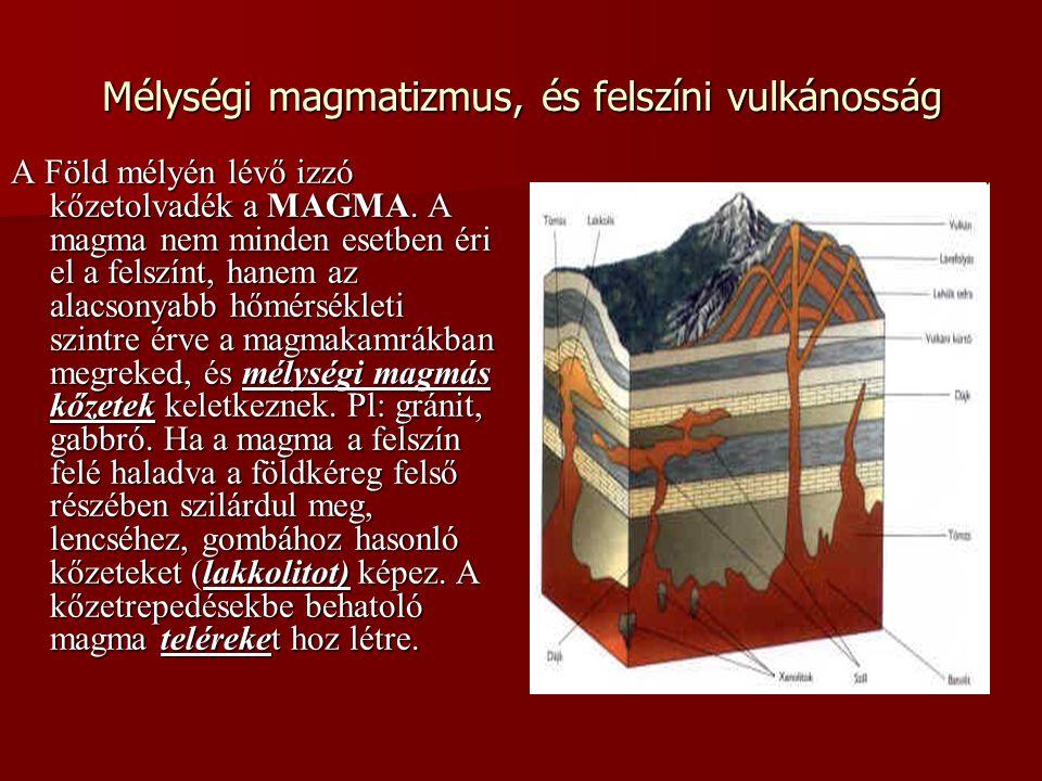 Vulkánkitörés a kőzetlemezek belső területein A vulkánok láncszerűen helyezkednek el Kialakulásukat a forró foltokkal magyarázzák.