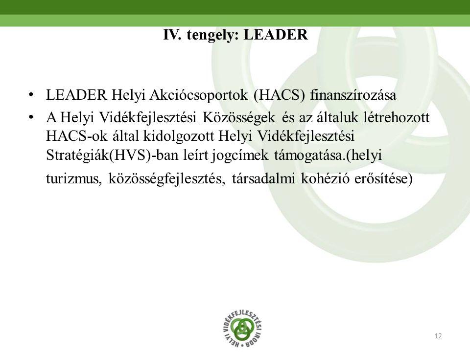 12 IV. tengely: LEADER LEADER Helyi Akciócsoportok (HACS) finanszírozása A Helyi Vidékfejlesztési Közösségek és az általuk létrehozott HACS-ok által k