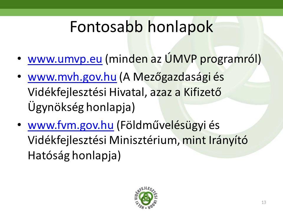 13 Fontosabb honlapok www.umvp.eu (minden az ÚMVP programról) www.umvp.eu www.mvh.gov.hu (A Mezőgazdasági és Vidékfejlesztési Hivatal, azaz a Kifizető
