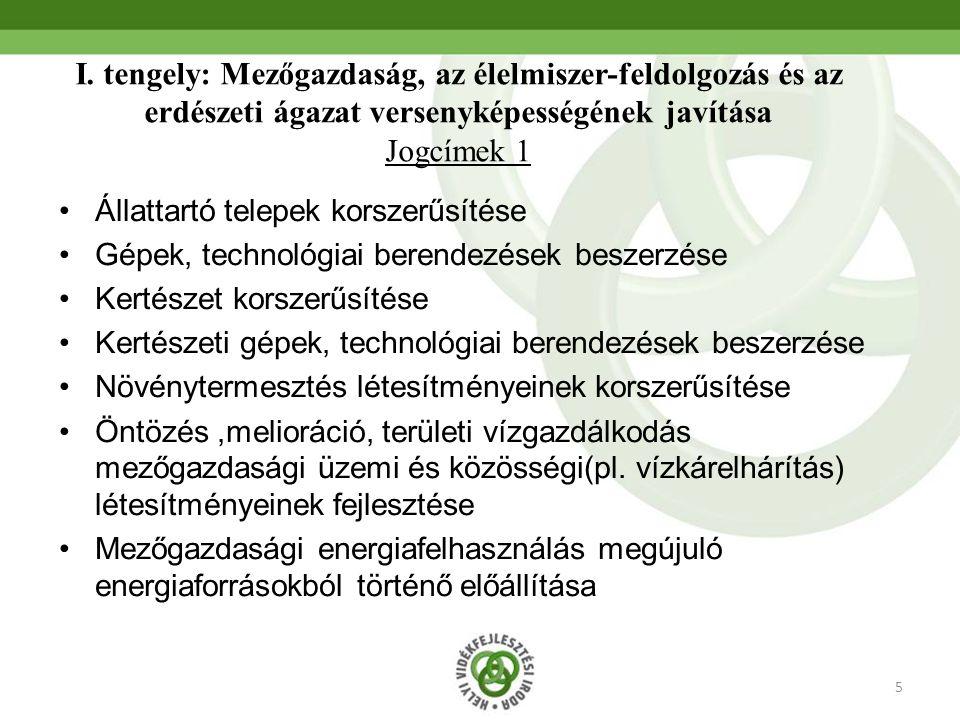 5 I. tengely: Mezőgazdaság, az élelmiszer-feldolgozás és az erdészeti ágazat versenyképességének javítása Jogcímek 1 Állattartó telepek korszerűsítése