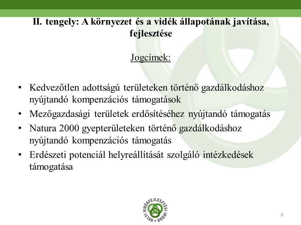 8 II. tengely: A környezet és a vidék állapotának javítása, fejlesztése Jogcímek: Kedvezőtlen adottságú területeken történő gazdálkodáshoz nyújtandó k