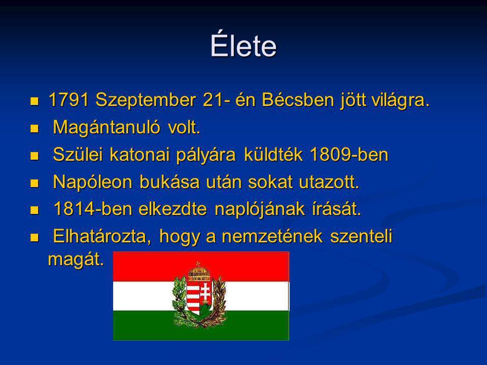 Élete 1791 Szeptember 21- én Bécsben jött világra. 1791 Szeptember 21- én Bécsben jött világra. Magántanuló volt. Magántanuló volt. Szülei katonai pál