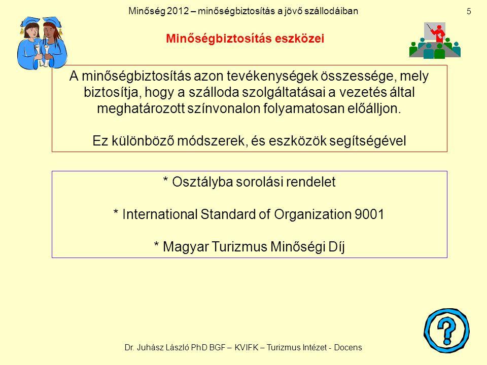 Minőség 2012 – minőségbiztosítás a jövő szállodáiban Dr.