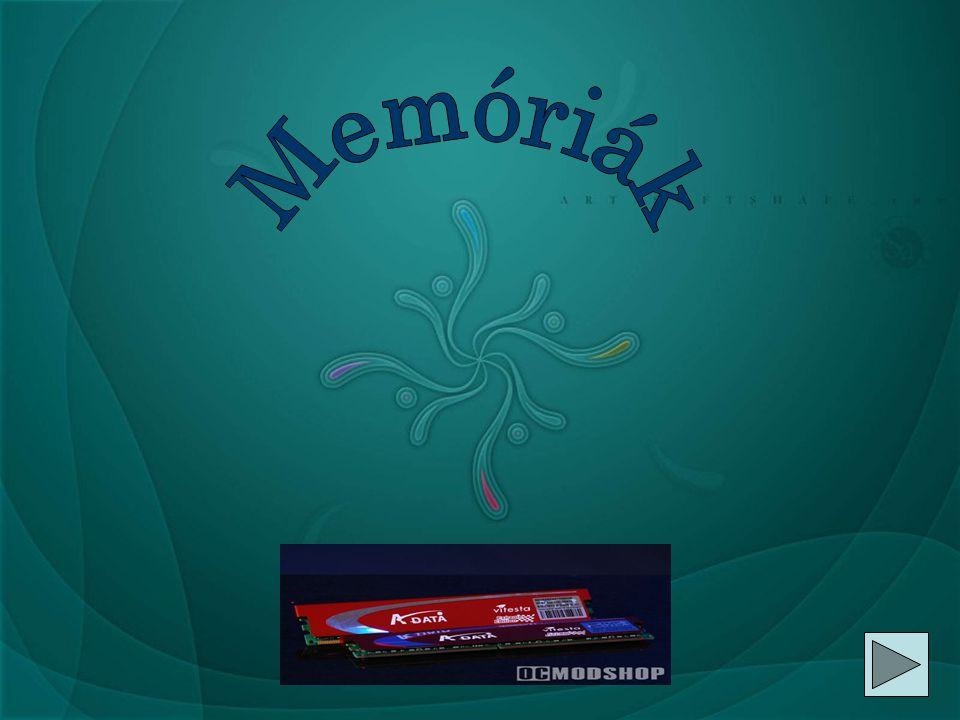 Memóriák osztályozása  Több szempontból lehet a számítógép memóriáját osztályozni:  els ő dleges vagy másodlagos  maradandó vagy nem  csak olvasható (ROM) vagy írható és olvasható is (RAM)  tetsz ő leges vagy soros hozzáférés ű  blokk vagy fájl hozzáférés ű  a közvetít ő közeg alapján: félvezet ő, optikai, mágneses.