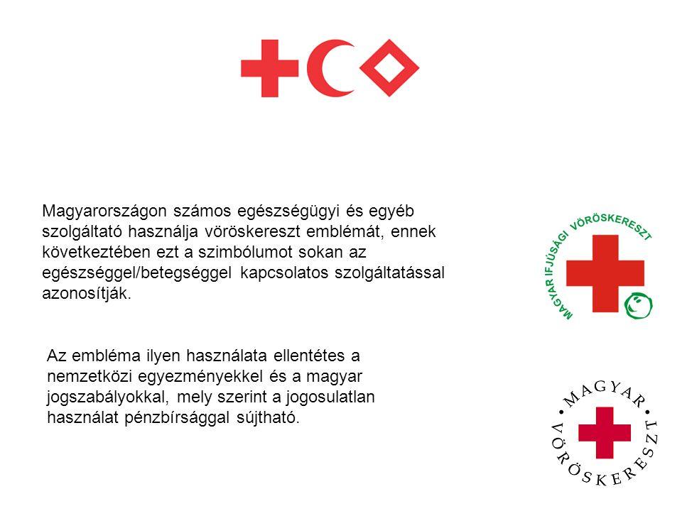 Magyarországon számos egészségügyi és egyéb szolgáltató használja vöröskereszt emblémát, ennek következtében ezt a szimbólumot sokan az egészséggel/be