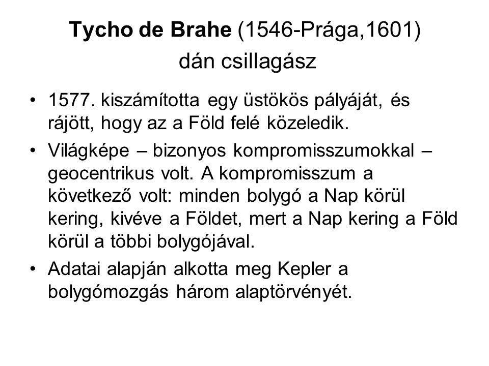 Tycho de Brahe (1546-Prága,1601) dán csillagász 1577. kiszámította egy üstökös pályáját, és rájött, hogy az a Föld felé közeledik. Világképe – bizonyo