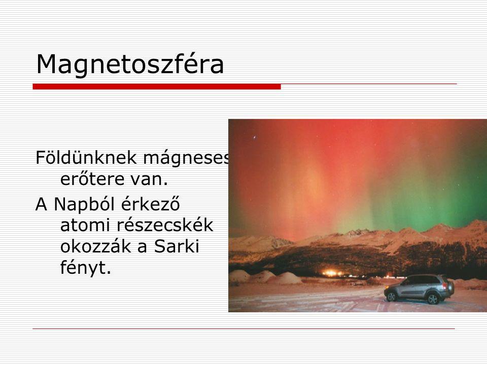 Magnetoszféra Földünknek mágneses erőtere van. A Napból érkező atomi részecskék okozzák a Sarki fényt.