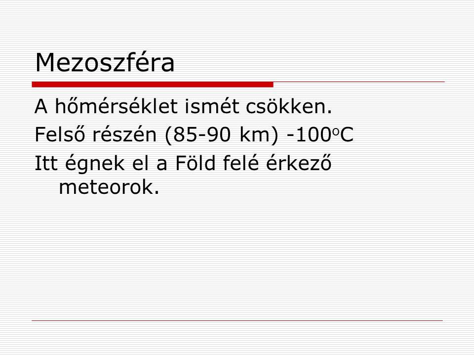Mezoszféra A hőmérséklet ismét csökken. Felső részén (85-90 km) -100 o C Itt égnek el a Föld felé érkező meteorok.