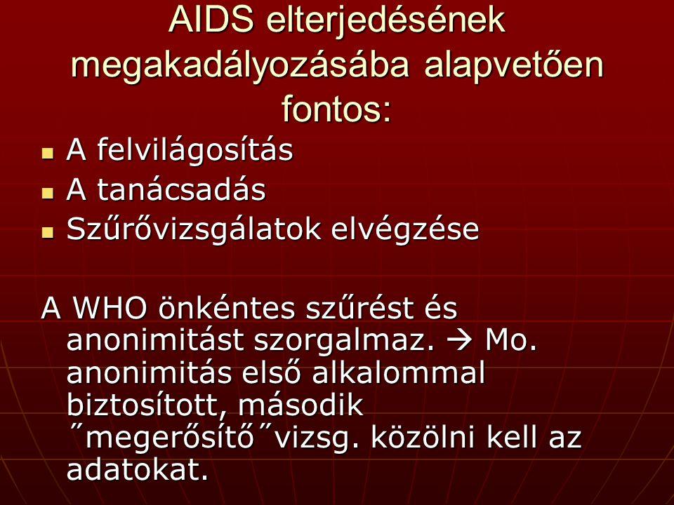 AIDS elterjedésének megakadályozásába alapvetően fontos: A felvilágosítás A felvilágosítás A tanácsadás A tanácsadás Szűrővizsgálatok elvégzése Szűrővizsgálatok elvégzése A WHO önkéntes szűrést és anonimitást szorgalmaz.