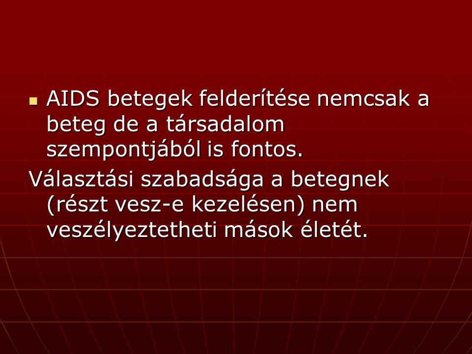 AIDS betegek felderítése nemcsak a beteg de a társadalom szempontjából is fontos.
