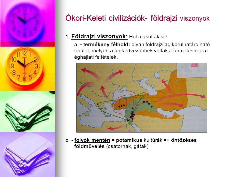 Ókori-Keleti civilizációk- földrajzi viszonyok 1, Földrajzi viszonyok: Hol alakultak ki? a, - termékeny félhold: olyan földrajzilag körülhatárolható t