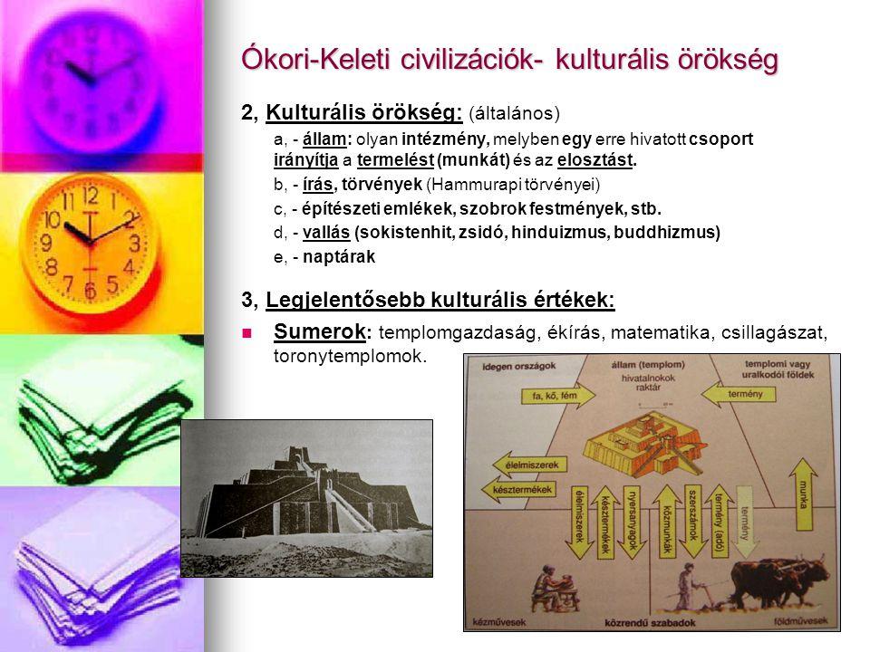 Ókori-Keleti civilizációk- kulturális örökség 2, Kulturális örökség: (általános) a, - állam: olyan intézmény, melyben egy erre hivatott csoport irányí