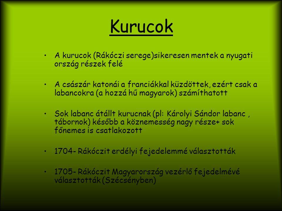 Kurucok A kurucok (Rákóczi serege)sikeresen mentek a nyugati ország részek felé A császár katonái a franciákkal küzdöttek, ezért csak a labancokra (a hozzá hű magyarok) számíthatott Sok labanc átállt kurucnak (pl: Károlyi Sándor labanc, tábornok) később a köznemesség nagy része+ sok főnemes is csatlakozott 1704- Rákóczit erdélyi fejedelemmé választották 1705- Rákóczit Magyarország vezérlő fejedelmévé választották (Szécsényben)