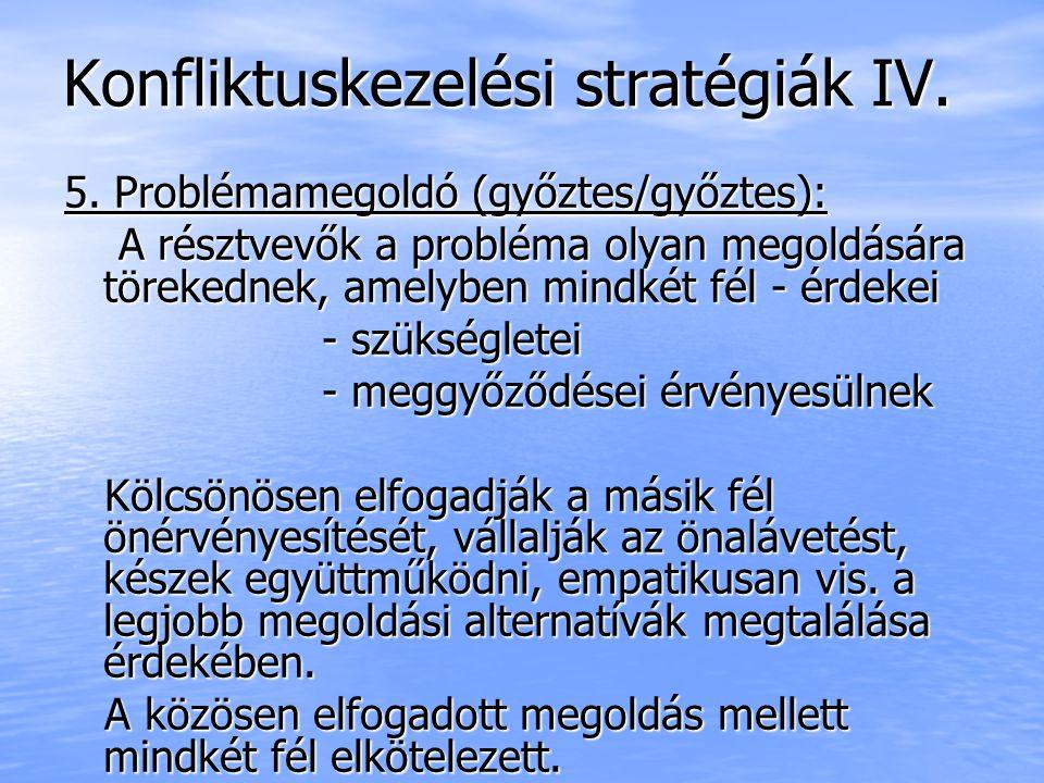 Konfliktuskezelési stratégiák IV. 5. Problémamegoldó (győztes/győztes): A résztvevők a probléma olyan megoldására törekednek, amelyben mindkét fél - é