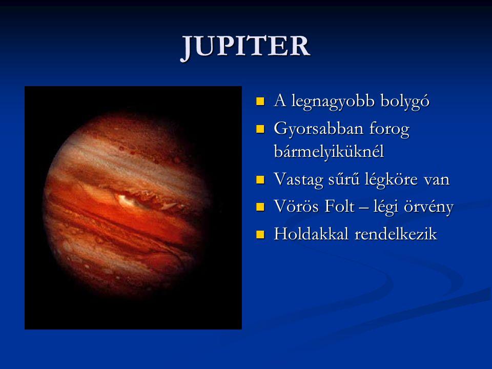 JUPITER A legnagyobb bolygó Gyorsabban forog bármelyiküknél Vastag sűrű légköre van Vörös Folt – légi örvény Holdakkal rendelkezik