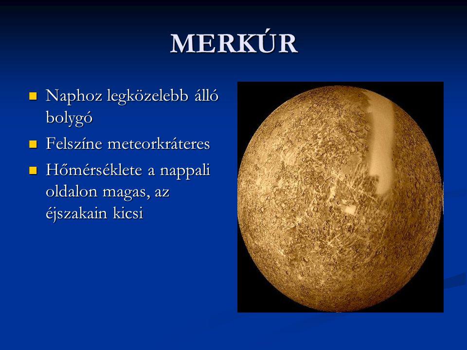 MERKÚR Naphoz legközelebb álló bolygó Naphoz legközelebb álló bolygó Felszíne meteorkráteres Felszíne meteorkráteres Hőmérséklete a nappali oldalon ma