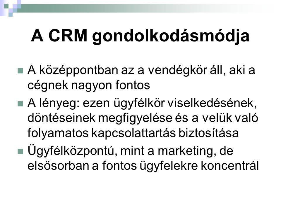 A CRM eszközrendszere Működéshez szükséges eszközök ügyfél-adatbázis szoftver az adatfeldolgozáshoz Megvalósítási eszközrendszer egyedi ajánlatok célirányos kommunikáció észrevételek, javaslatok kezelése a visszacsatolás lehetőségeinek megvalósítása