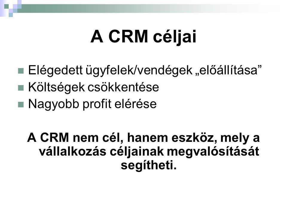 A CRM előnyei Olyan ajánlat állítható össze, mely pontosan megfelel az elvárásoknak → nő az árbevétel Az ügyfelek ismeretében a leghatékonyabb marketingcsatornák alkalmazhatók Elégedettebbek lesznek az ügyfelek, nő az eredményesség