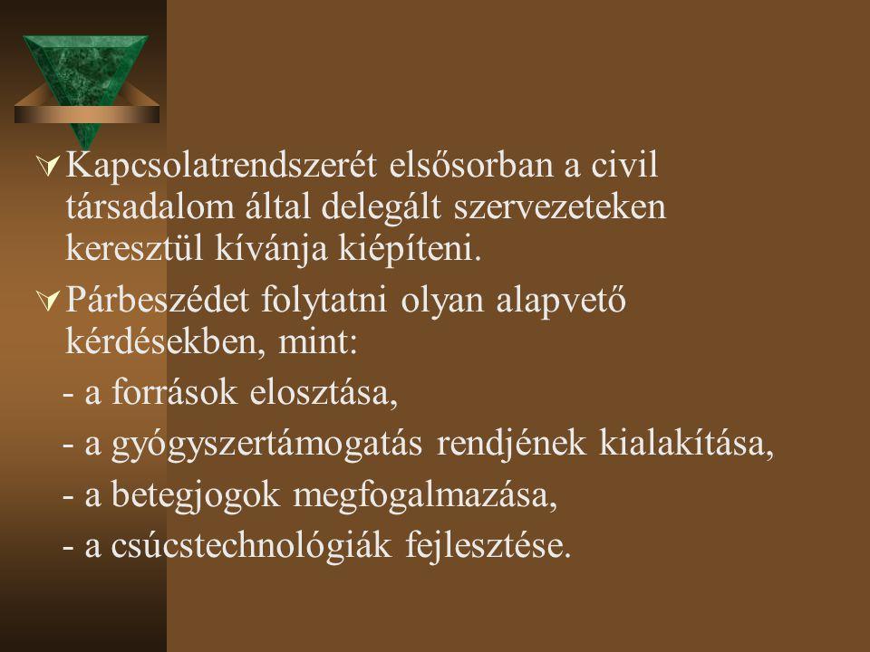  Kapcsolatrendszerét elsősorban a civil társadalom által delegált szervezeteken keresztül kívánja kiépíteni.  Párbeszédet folytatni olyan alapvető k