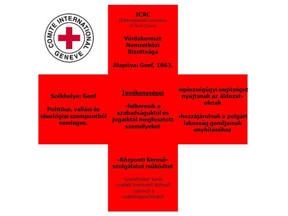 ICRC (International Commitee of Red Cross) Vöröskereszt Nemzetközi Bizottsága Alapítva: Genf, 1863. -egészségügyi segítséget nyújtanak az áldozat- okn