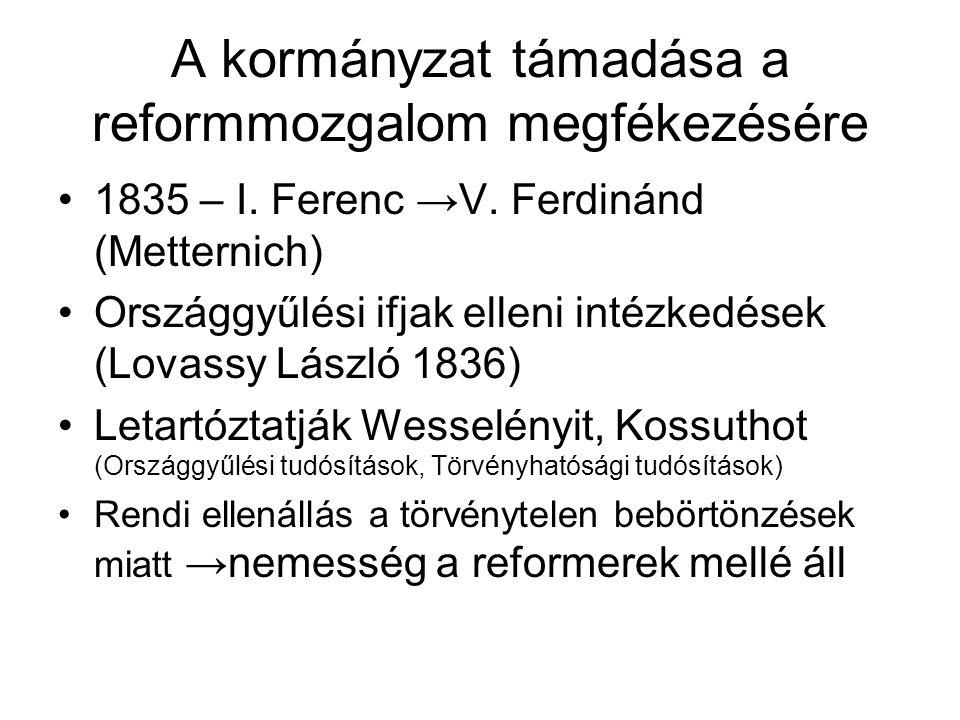 A kormányzat támadása a reformmozgalom megfékezésére 1835 – I. Ferenc →V. Ferdinánd (Metternich) Országgyűlési ifjak elleni intézkedések (Lovassy Lász
