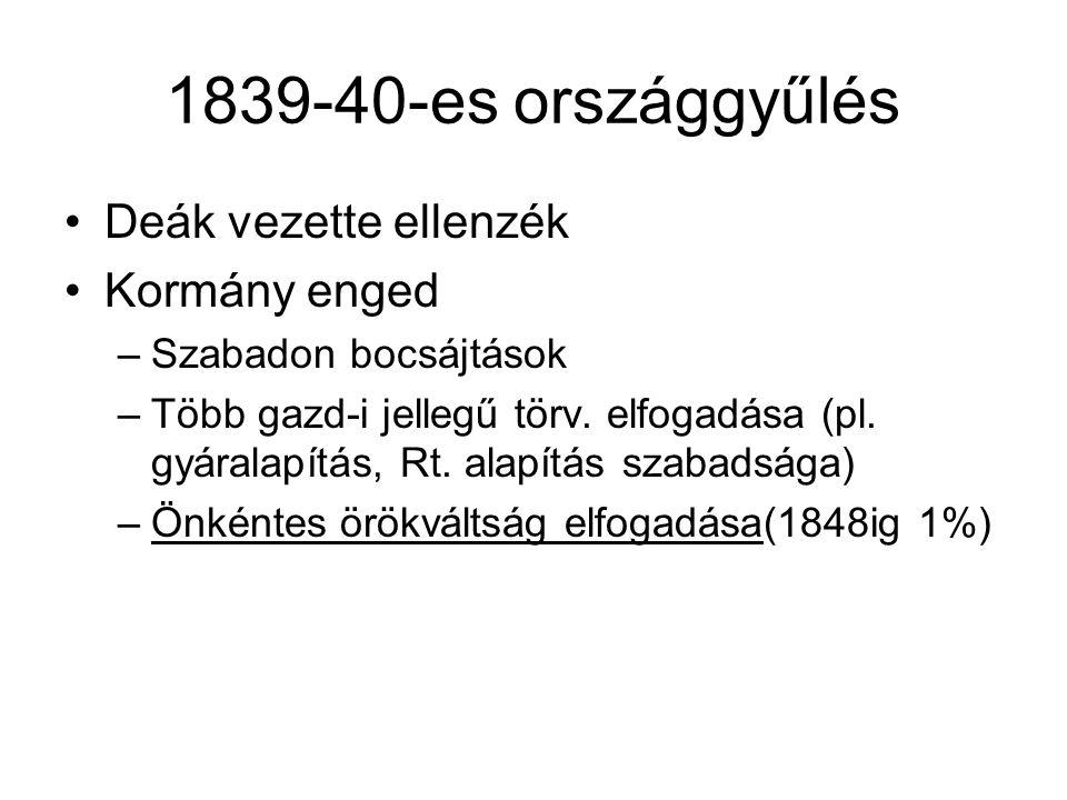1839-40-es országgyűlés Deák vezette ellenzék Kormány enged –Szabadon bocsájtások –Több gazd-i jellegű törv. elfogadása (pl. gyáralapítás, Rt. alapítá