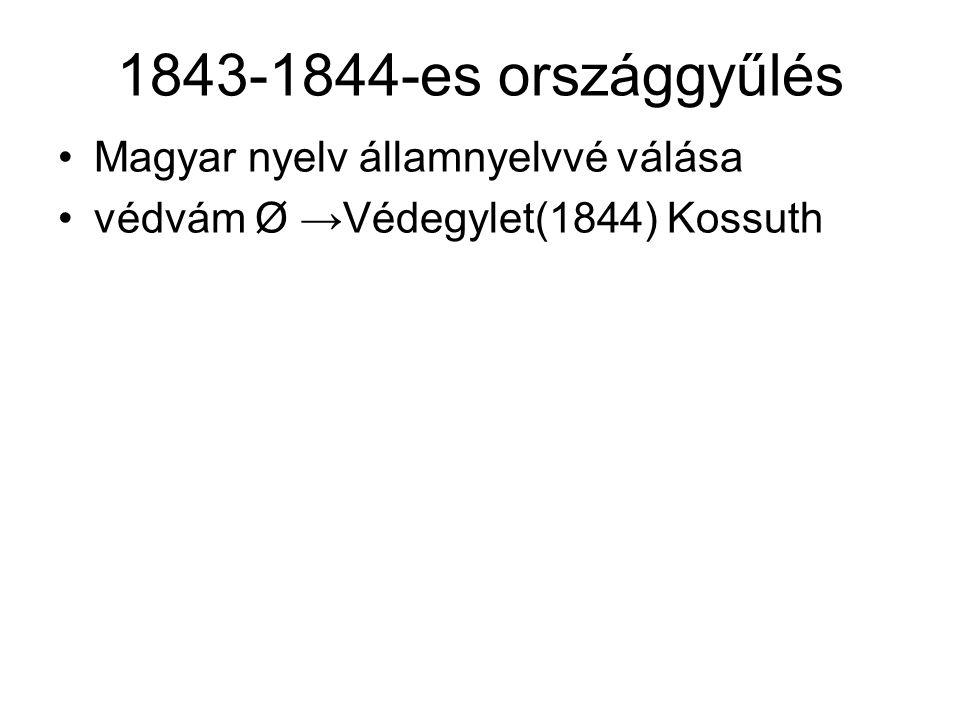 1843-1844-es országgyűlés Magyar nyelv államnyelvvé válása védvám Ø →Védegylet(1844) Kossuth
