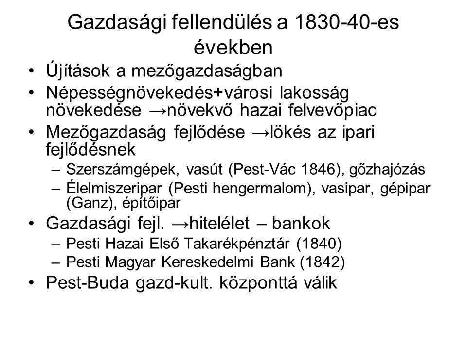 Gazdasági fellendülés a 1830-40-es években Újítások a mezőgazdaságban Népességnövekedés+városi lakosság növekedése →növekvő hazai felvevőpiac Mezőgazd