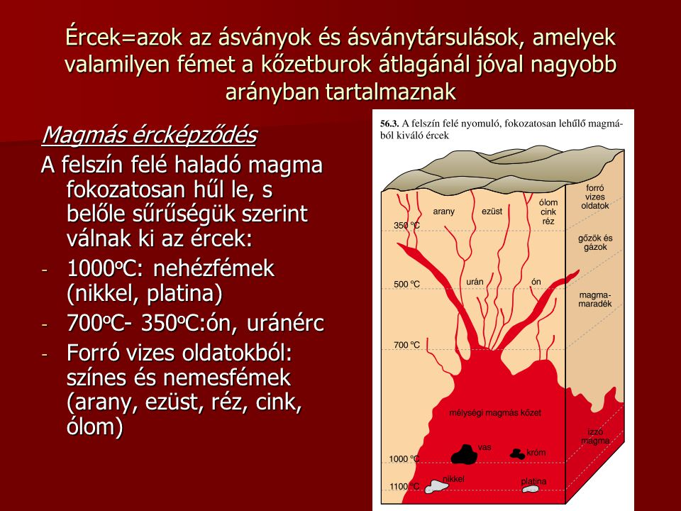 Ércek=azok az ásványok és ásványtársulások, amelyek valamilyen fémet a kőzetburok átlagánál jóval nagyobb arányban tartalmaznak Magmás ércképződés A f