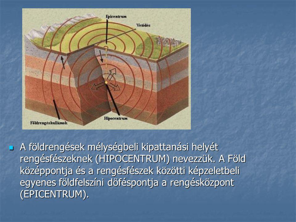 A földrengések mélységbeli kipattanási helyét rengésfészeknek (HIPOCENTRUM) nevezzük. A Föld középpontja és a rengésfészek közötti képzeletbeli egyene