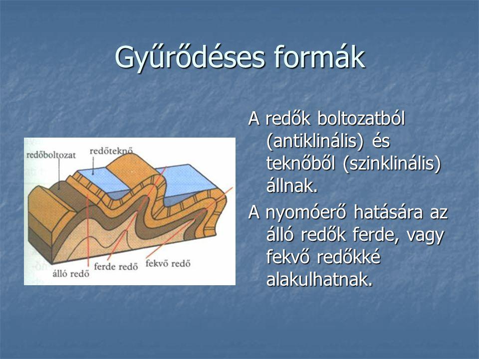 Gyűrődéses formák A redők boltozatból (antiklinális) és teknőből (szinklinális) állnak. A nyomóerő hatására az álló redők ferde, vagy fekvő redőkké al