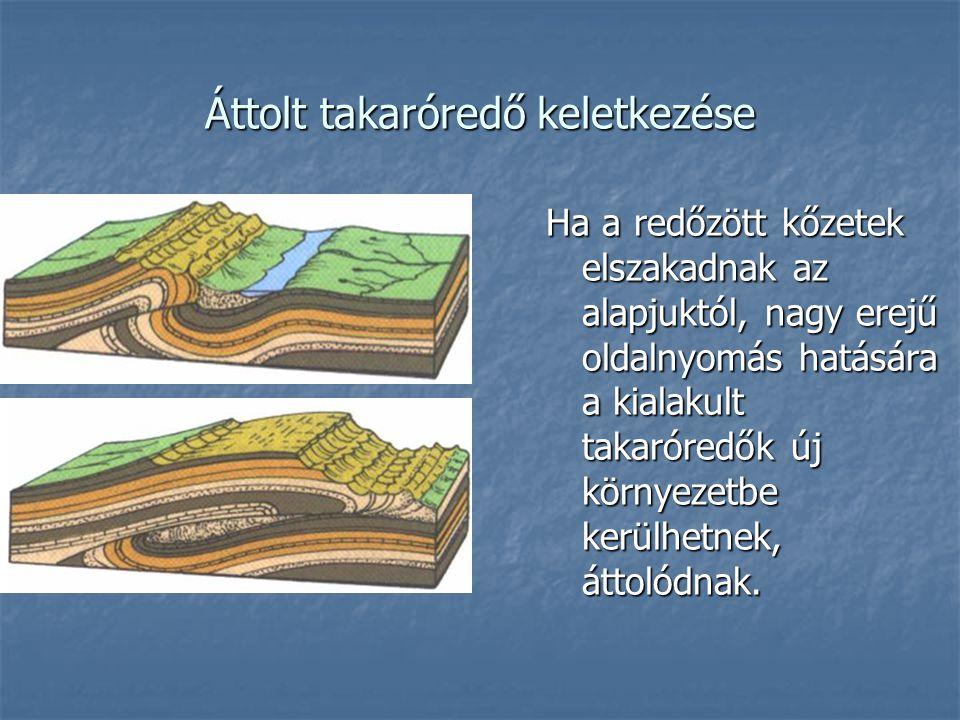 Áttolt takaróredő keletkezése Ha a redőzött kőzetek elszakadnak az alapjuktól, nagy erejű oldalnyomás hatására a kialakult takaróredők új környezetbe