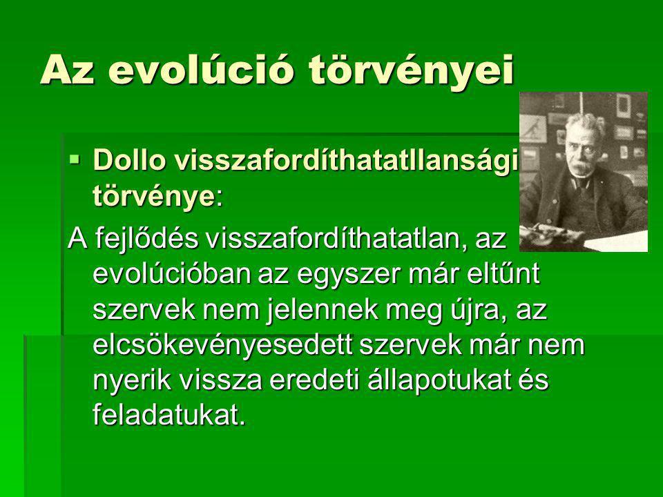 Az evolúció törvényei  Dollo visszafordíthatatllansági törvénye: A fejlődés visszafordíthatatlan, az evolúcióban az egyszer már eltűnt szervek nem jelennek meg újra, az elcsökevényesedett szervek már nem nyerik vissza eredeti állapotukat és feladatukat.