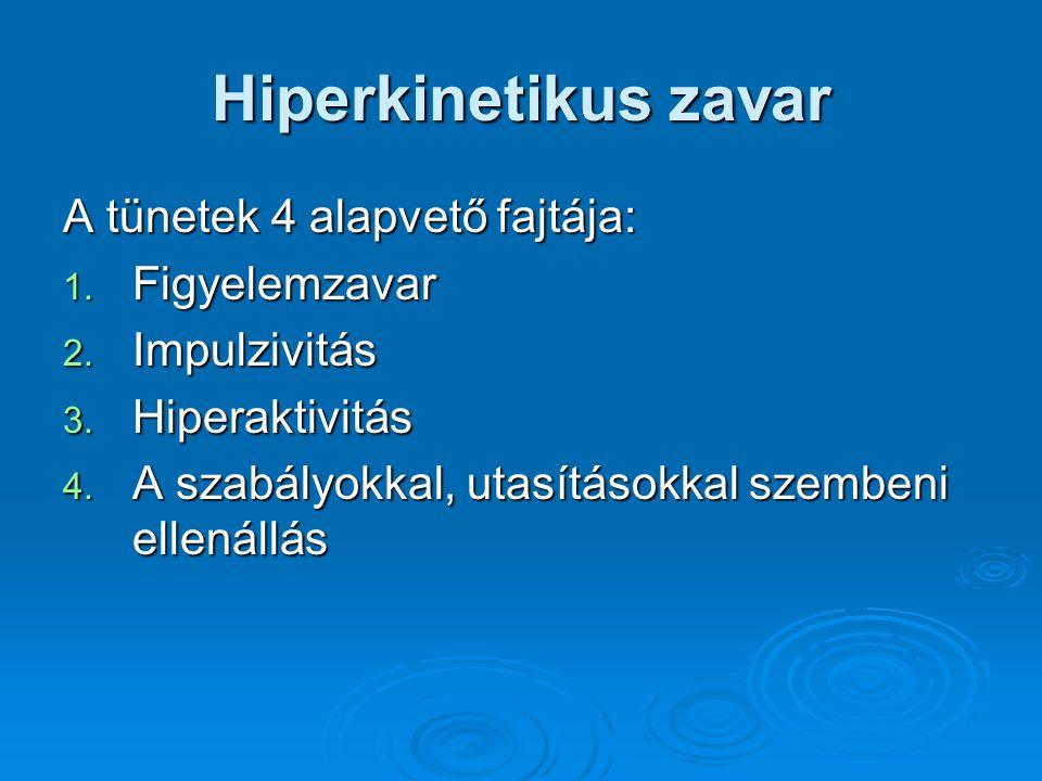 Hiperkinetikus zavar A tünetek 4 alapvető fajtája: 1.