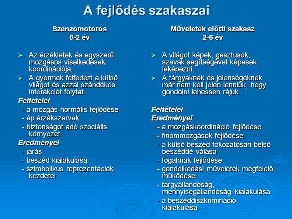 A fejlődés szakaszai Szenzomotoros 0-2 év  Az érzékletek és egyszerű mozgásos viselkedések koordinációja.