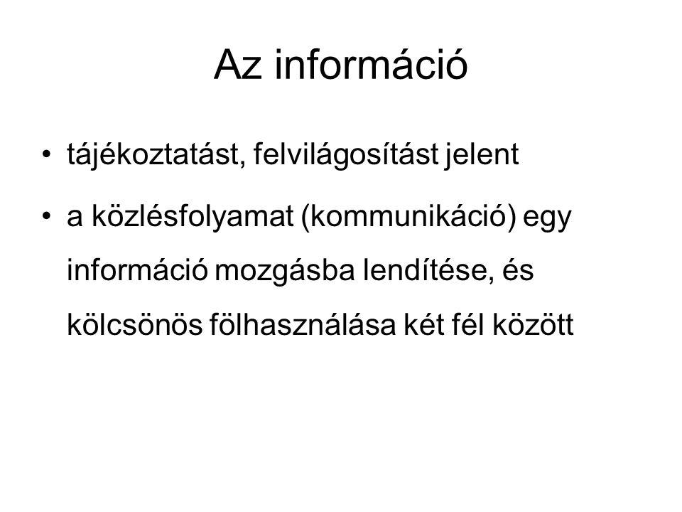 Az információ tájékoztatást, felvilágosítást jelent a közlésfolyamat (kommunikáció) egy információ mozgásba lendítése, és kölcsönös fölhasználása két