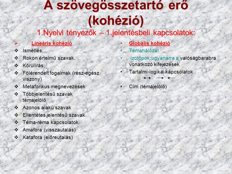 A szövegösszetartó erő (kohézió) 1.Nyelvi tényezők – 1.jelentésbeli kapcsolatok:  Lineáris kohézió  Ismétlés,  Rokon értelmű szavak,  Körülírás, 