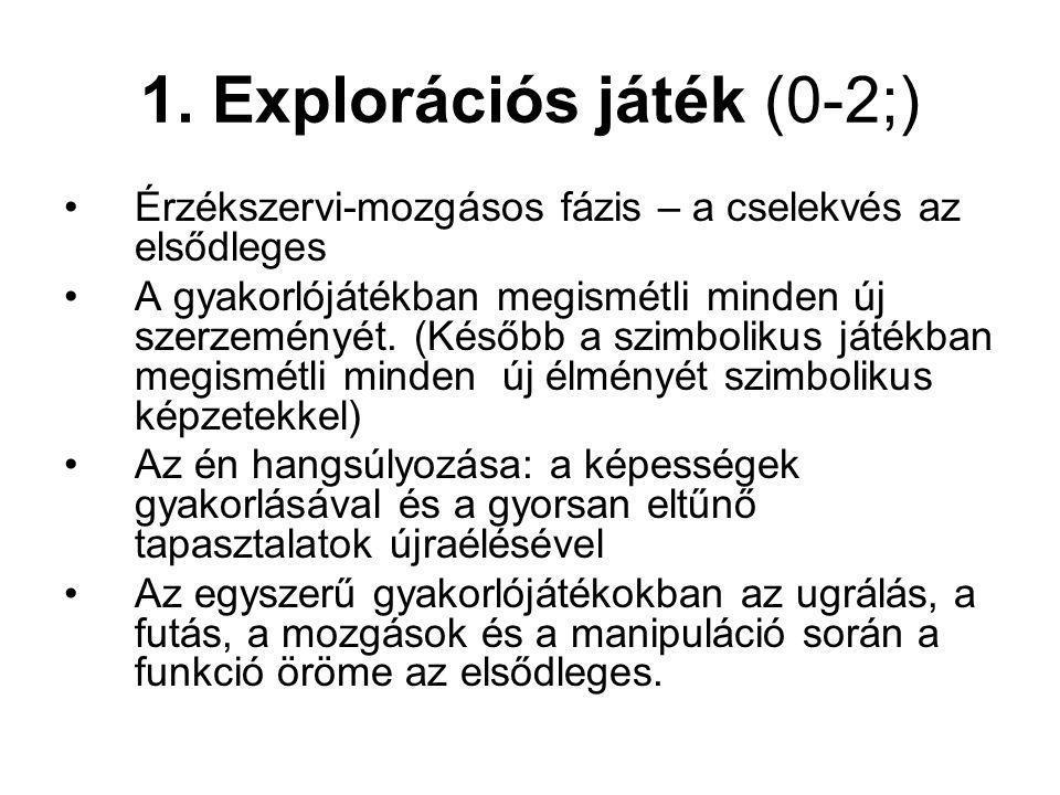 1. Explorációs játék (0-2;) Érzékszervi-mozgásos fázis – a cselekvés az elsődleges A gyakorlójátékban megismétli minden új szerzeményét. (Később a szi
